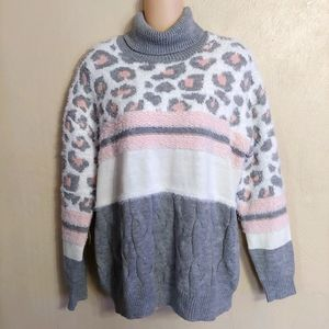 Absolutely Famous high neck leopard sweater size M